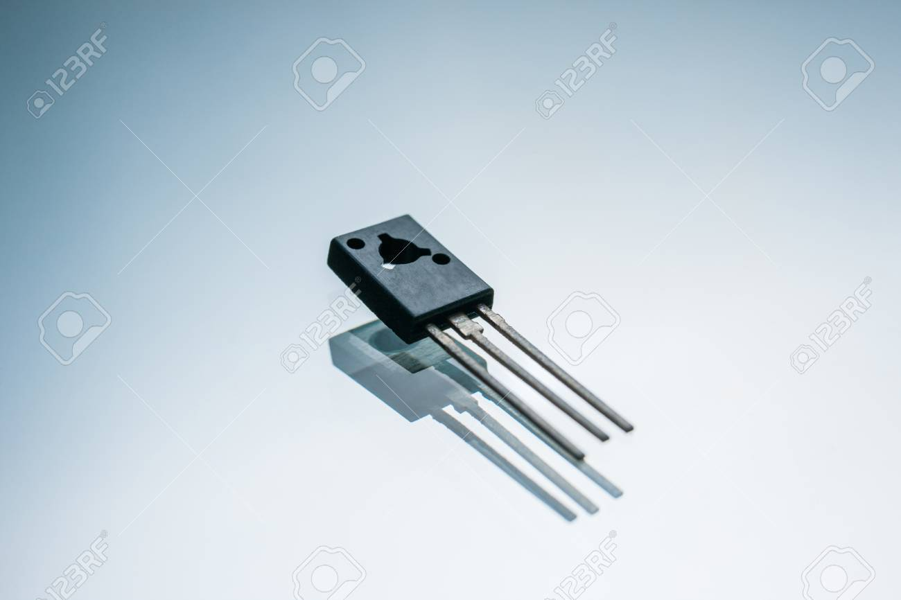 Electronic Transistor On White Background Current Control In Amplifier Circuit Output Amplification And Conversion Of
