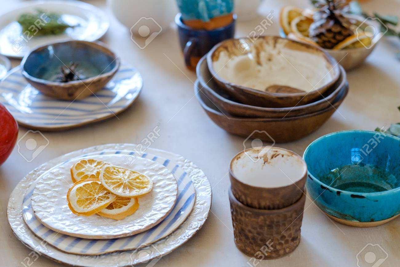 Handmade Crockery Handicraft Pottery Artisan Clay Plates Bowls Stock Photo Picture And Royalty Free Image Image 102207204