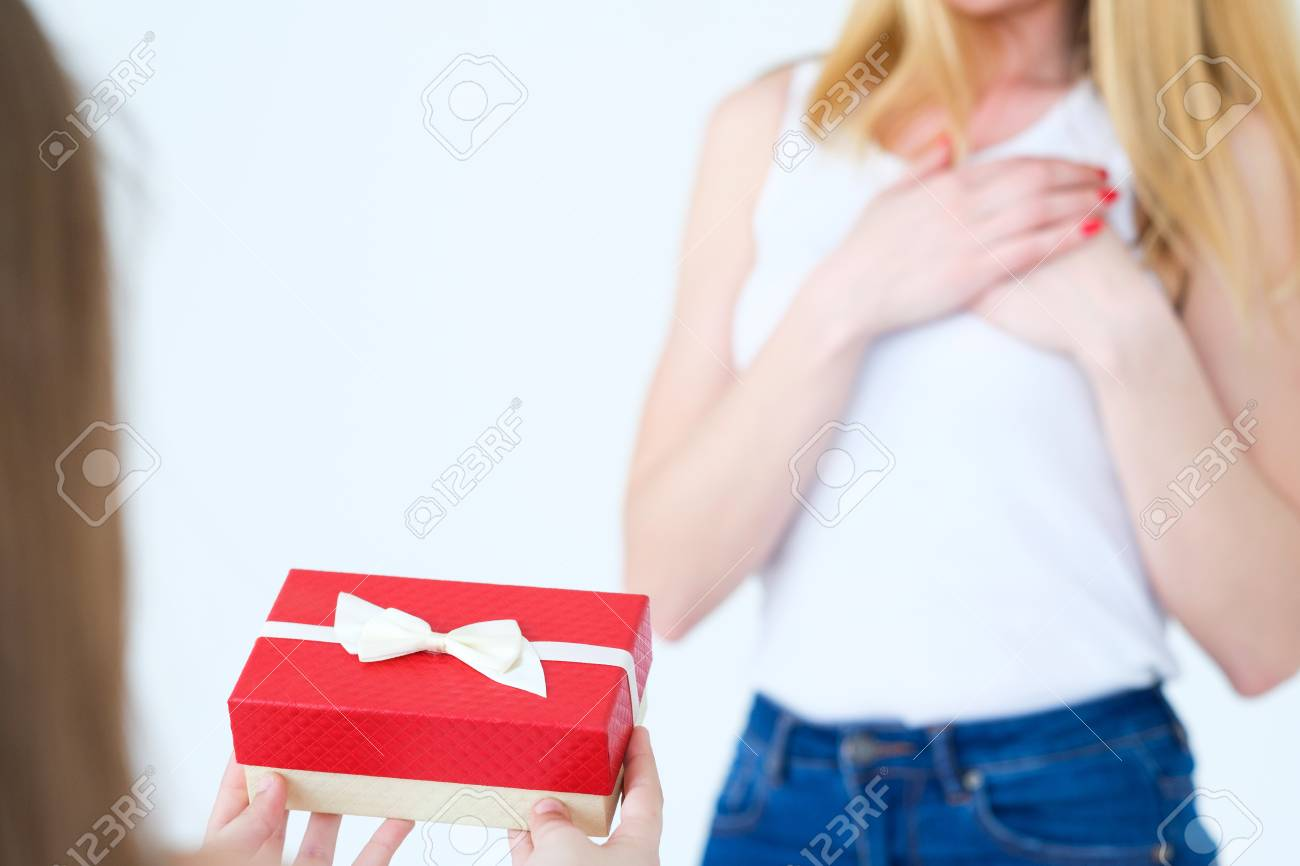 Present In A Gift Box For Mother Birthday Surprise Loving Daughter And Family Relationships