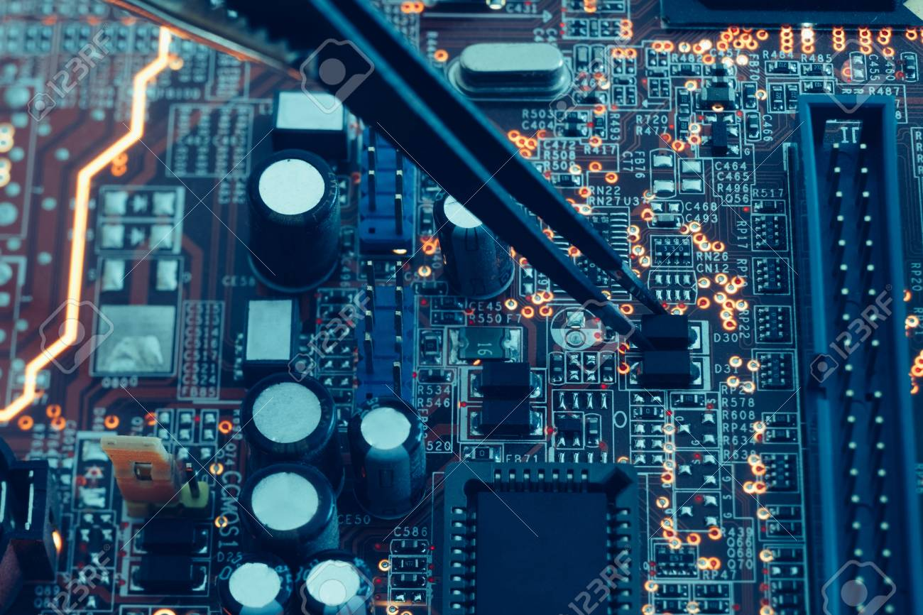 printed circuit board assembly. smd components mounting. technology and programming concept. - 111106425