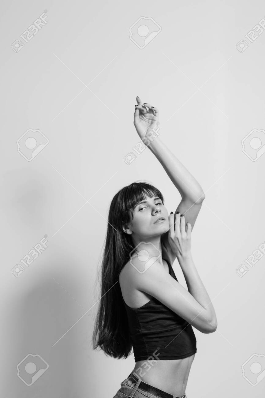 Fashion artistic model black and white portrait of graceful