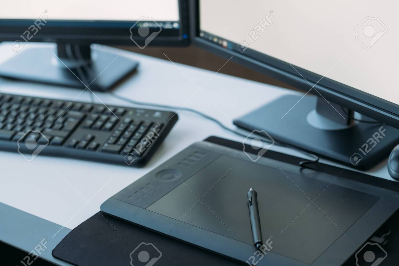 Web graphic design. Creative 3D artist workplace. Top view of tablet, stylus, keyboard on desk. - 127244764