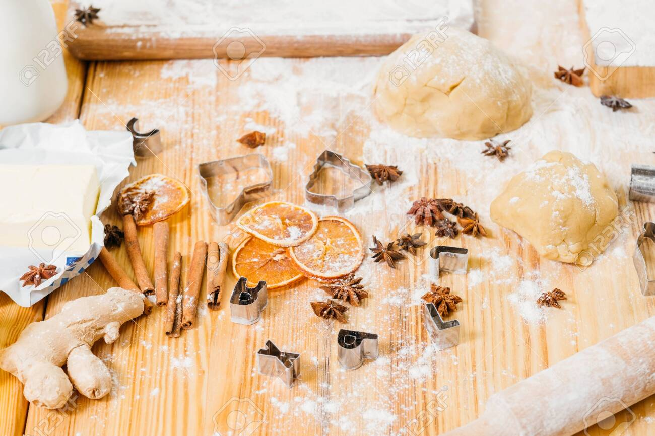 Homemade pastry. Kitchen table mess. Ingredients and tools for..