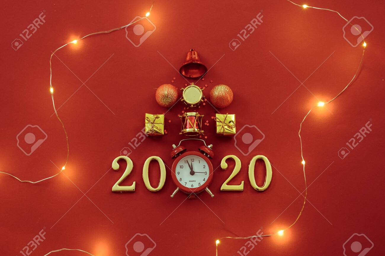 Christmas Time 2020 New Year Celebration Time 2020. Flat Lay Of Christmas Ornaments