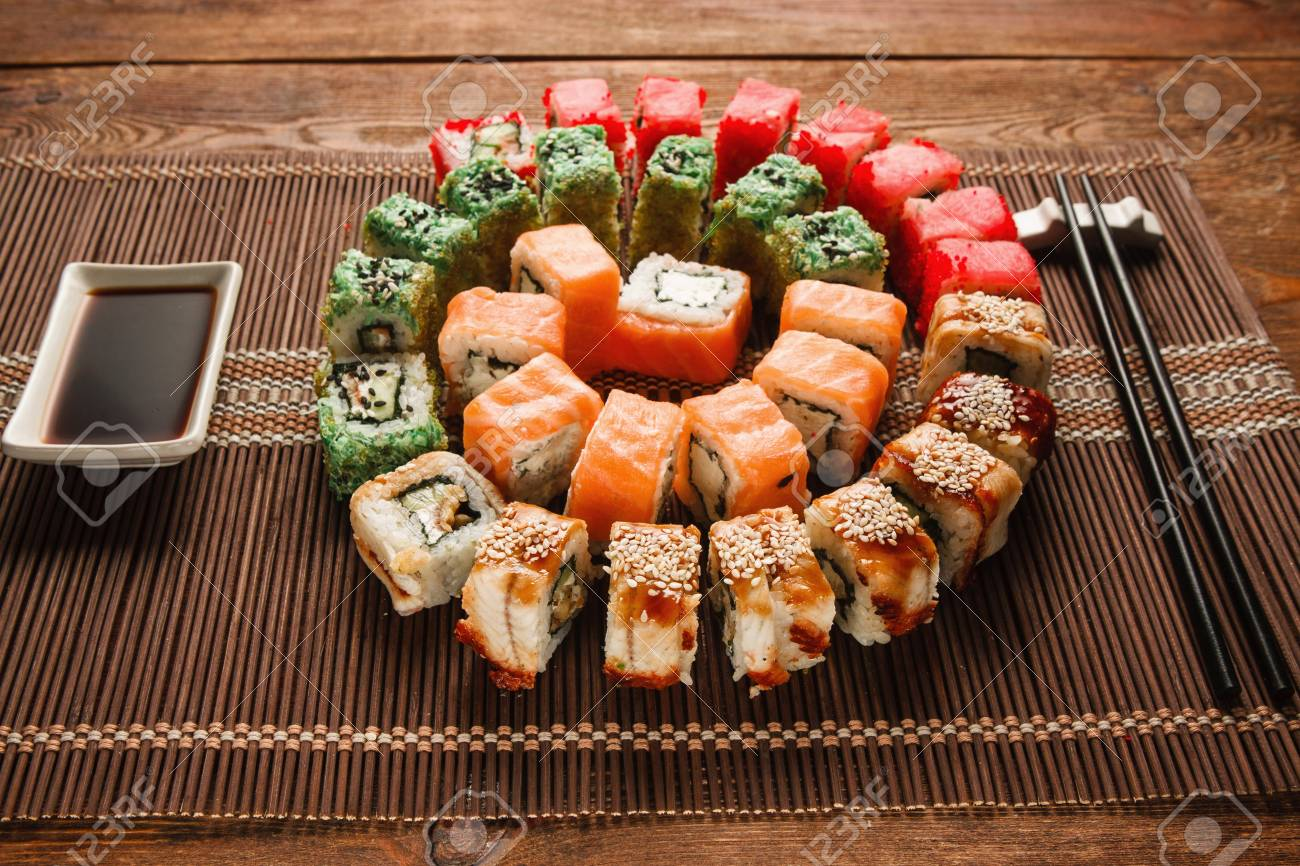 Colorful Japanese Sushi Food Art Appetizing Colorful Spiral Stock Photo Picture And Royalty Free Image Image 76940453