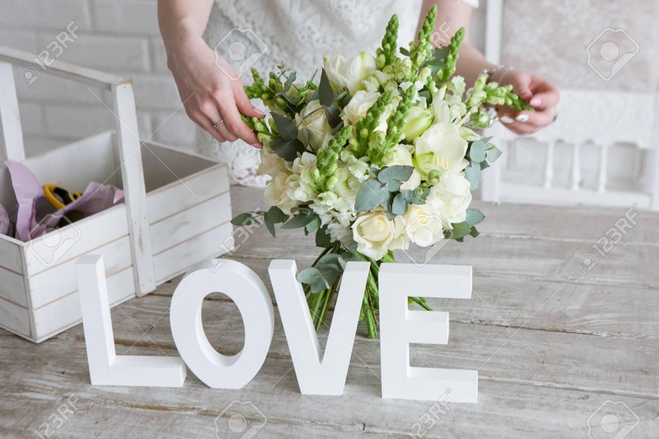 Making Wedding Bunch In Floristry Workshop Unrecognizable Florist