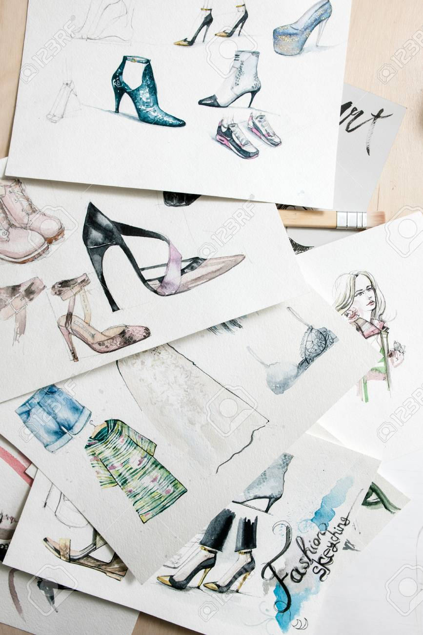 Patterns Of Fashion Sketching Models Of Footwear And Clothing Stock Photo Picture And Royalty Free Image Image 83443310