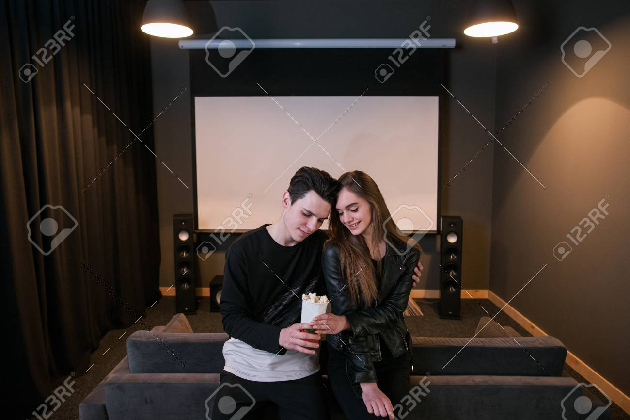 Young People On Date Love Relationship Vip Home Cinema Cute Stock Photo Picture And Royalty Free Image Image 84226502