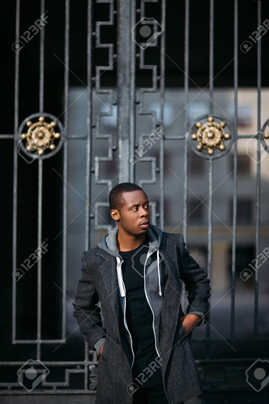 Thoughtful black male model. Urban life. Pensive African American..