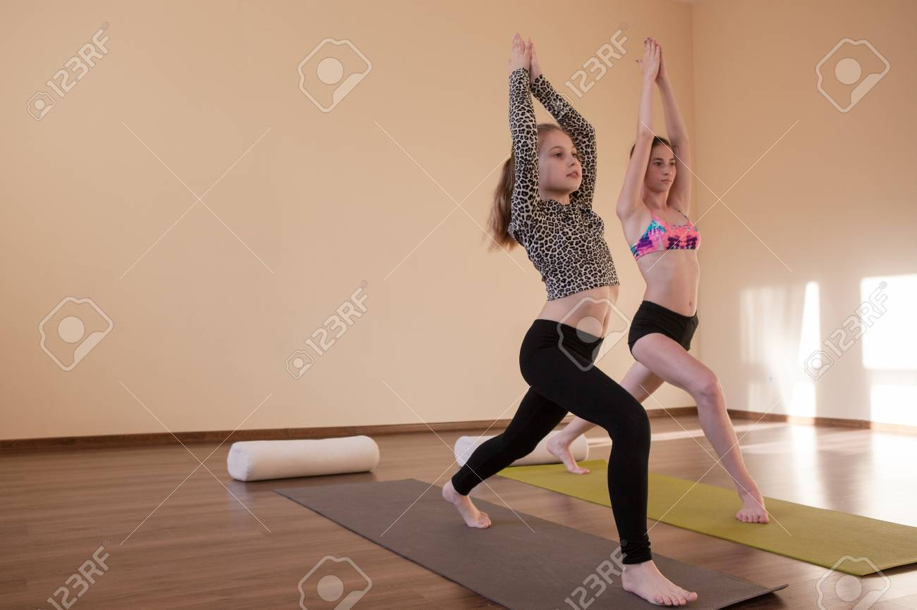 Teenage sport. Yoga for kids. Zen life, stretching exercises..