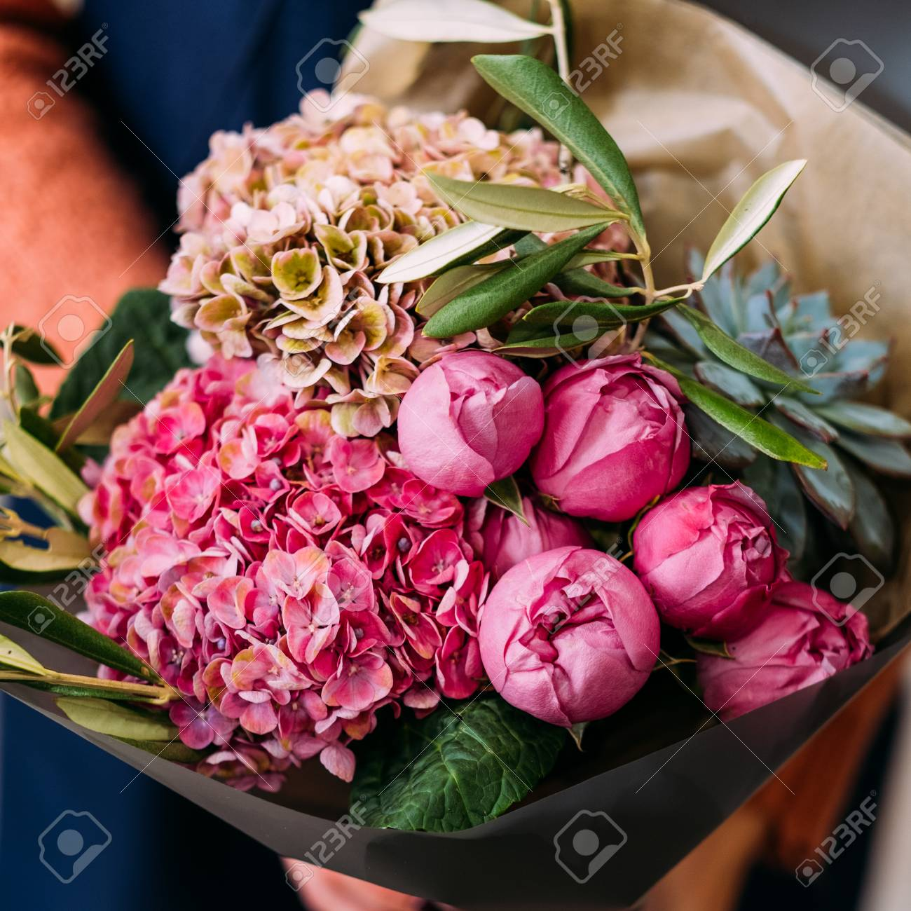 Luxurious bouquet of various flowers as an anniversary gift