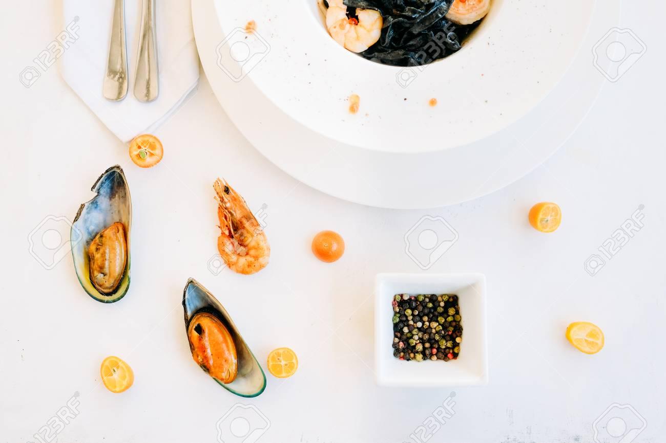 Restaurant Seafood Black Pasta Recipe Concept. Traditional Kitchen ...