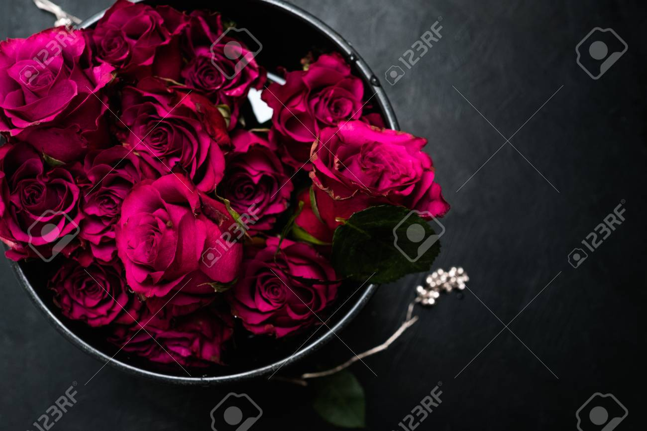 Expression Of Love And Romance. Beautiful Bouquet Of Red Roses ...