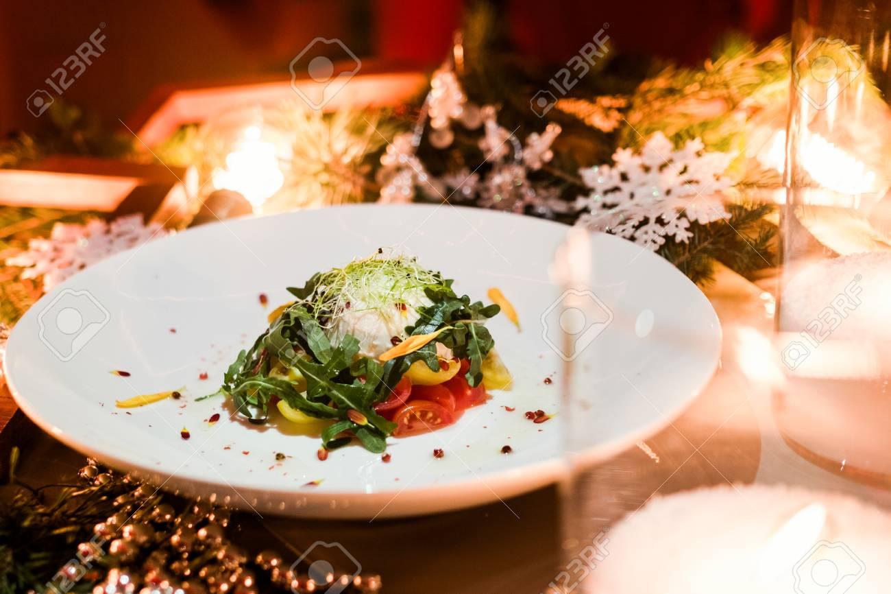 Restaurant Weihnachtsessen.Stock Photo