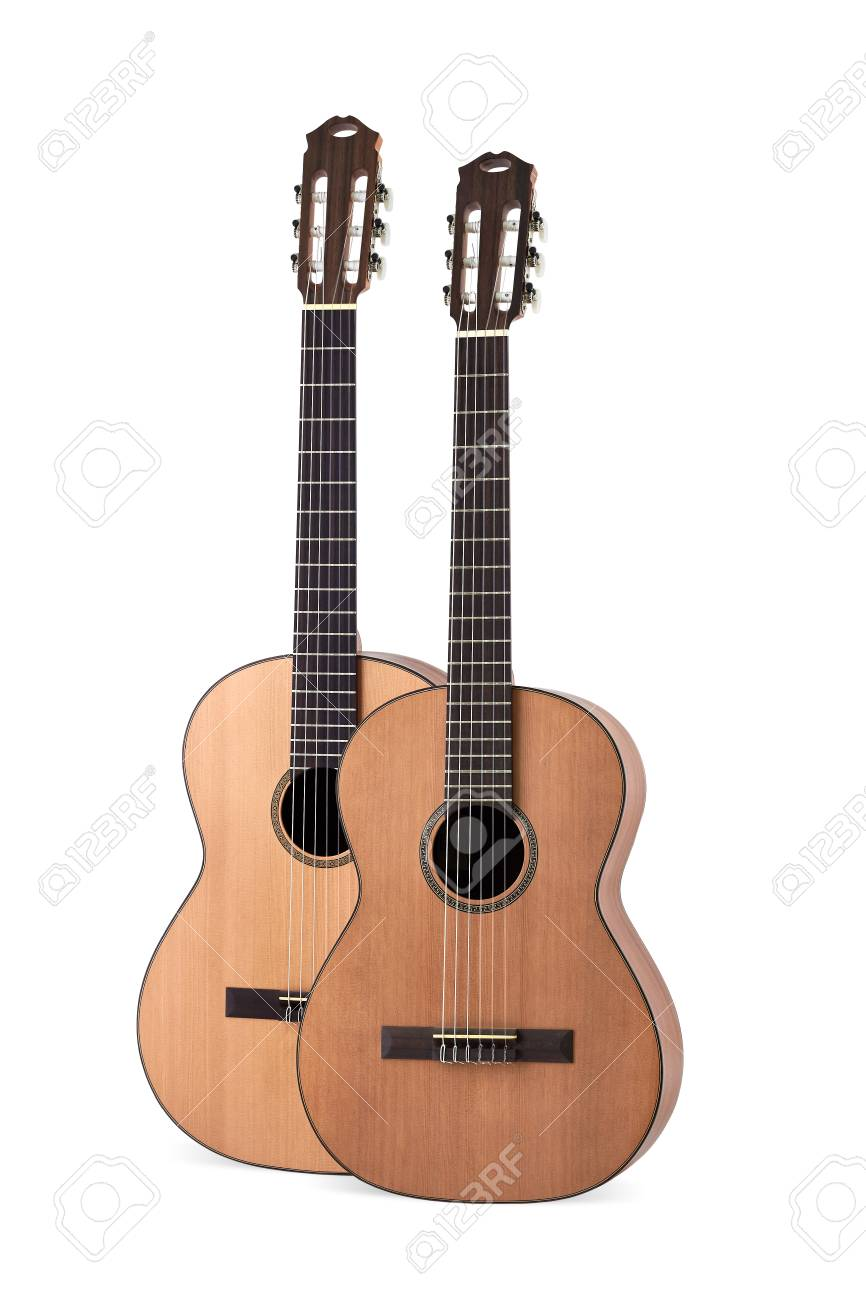 Two Acoustic Guitar On White Background Stock Photo Picture And