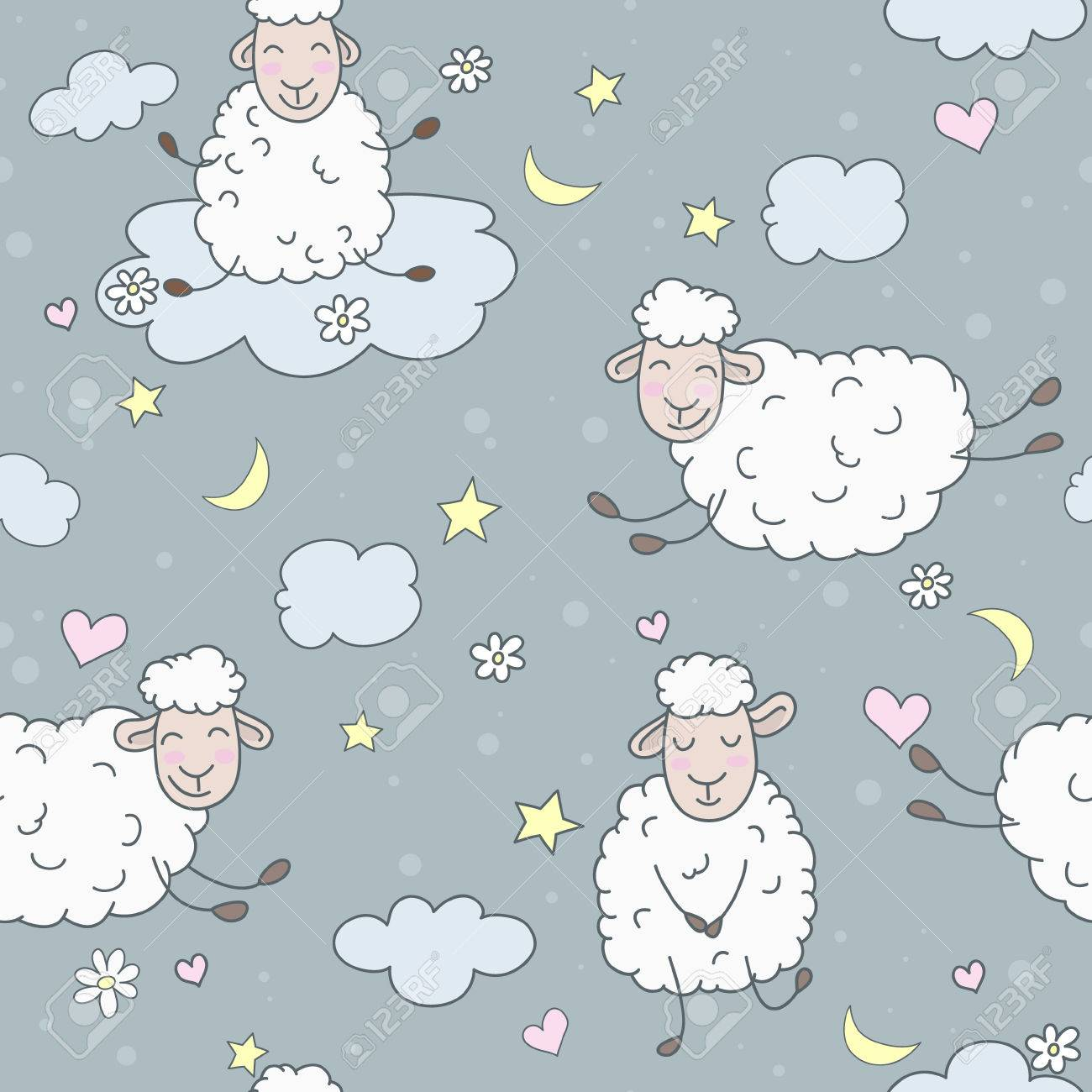 Wallpaper for children. Abstract lamb seamless pattern background vector illustration. Night Theme. - 31402285