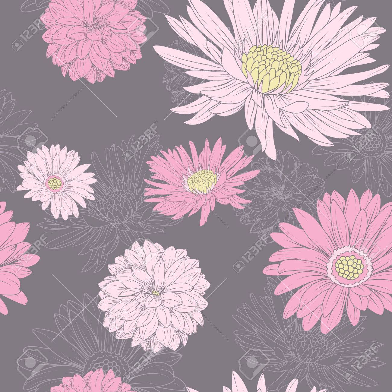 Pink floral seamless vector background floral hrysanthemum seamless - Flower Seamless Pattern Pink Aster And Chrysanthemum At The Black Background Stock Vector 31463575