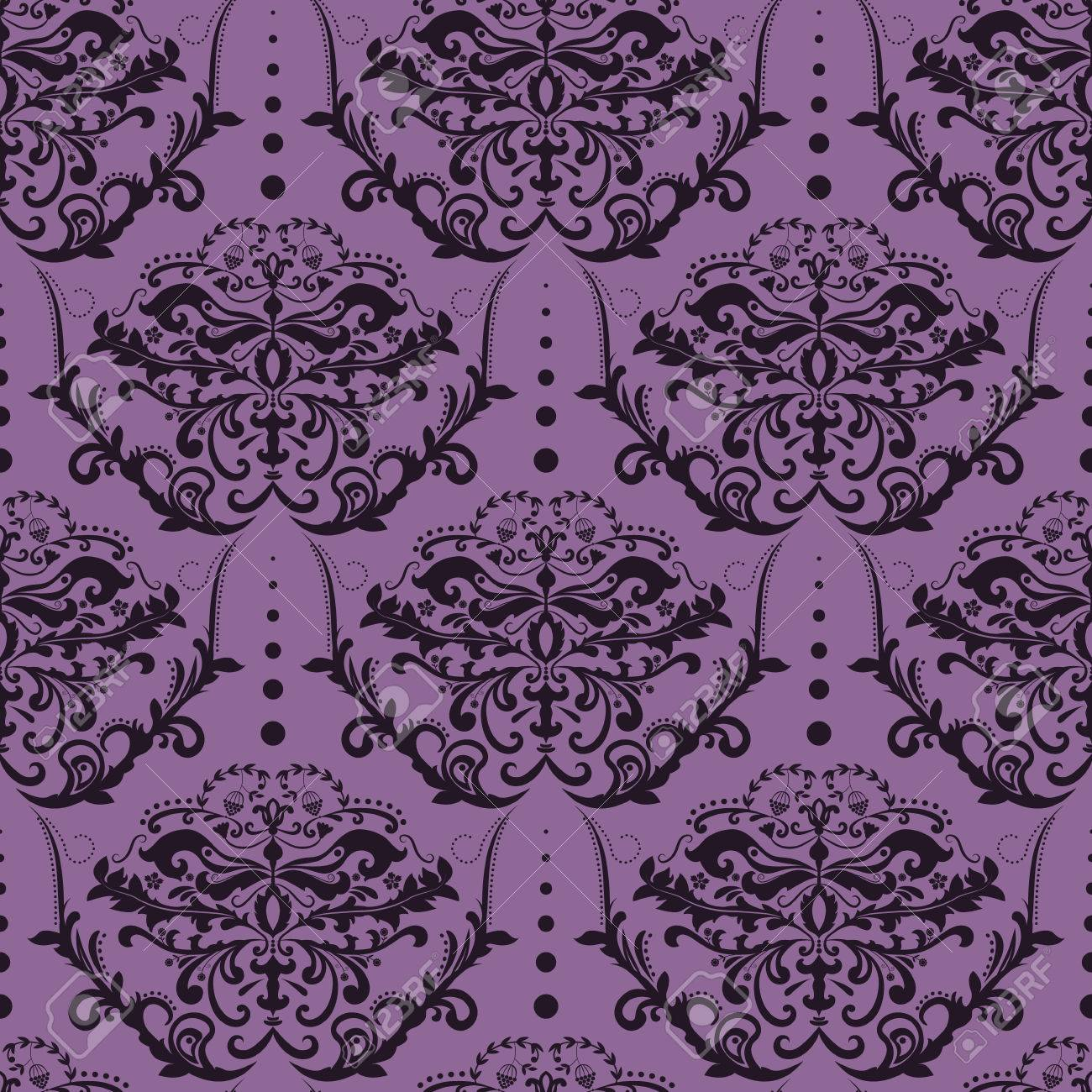 Purple And Black Seamless Damask Wallpaper Floral Pattern Stock Vector