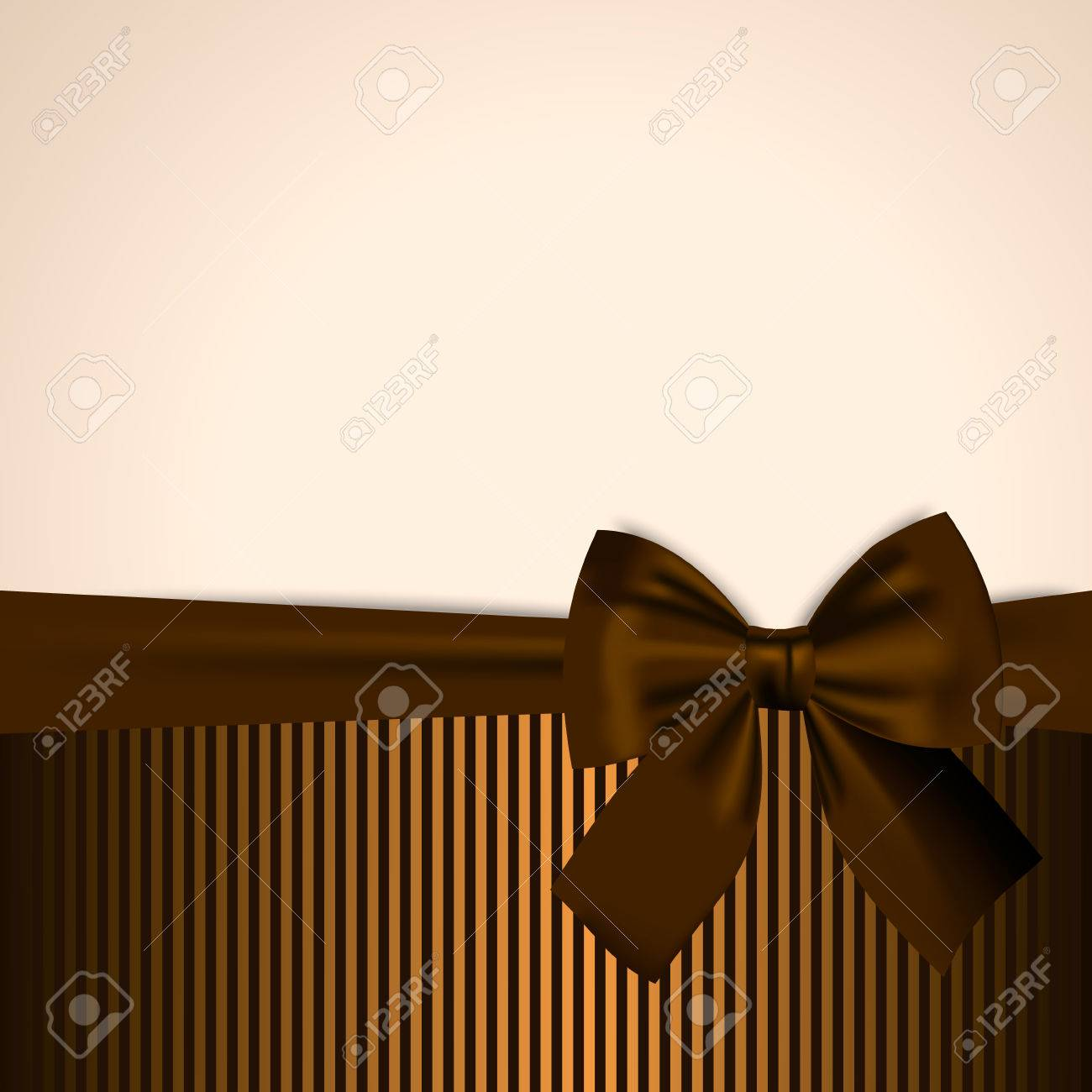 Brown and golden Postcard Invitation Gift Card Banner Template Background with realistic bow - 31504743