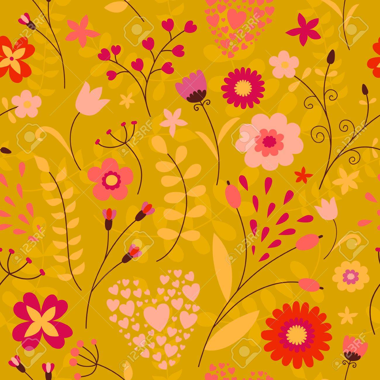Cute colorful floral seamless pattern in children\'s style - 33854579