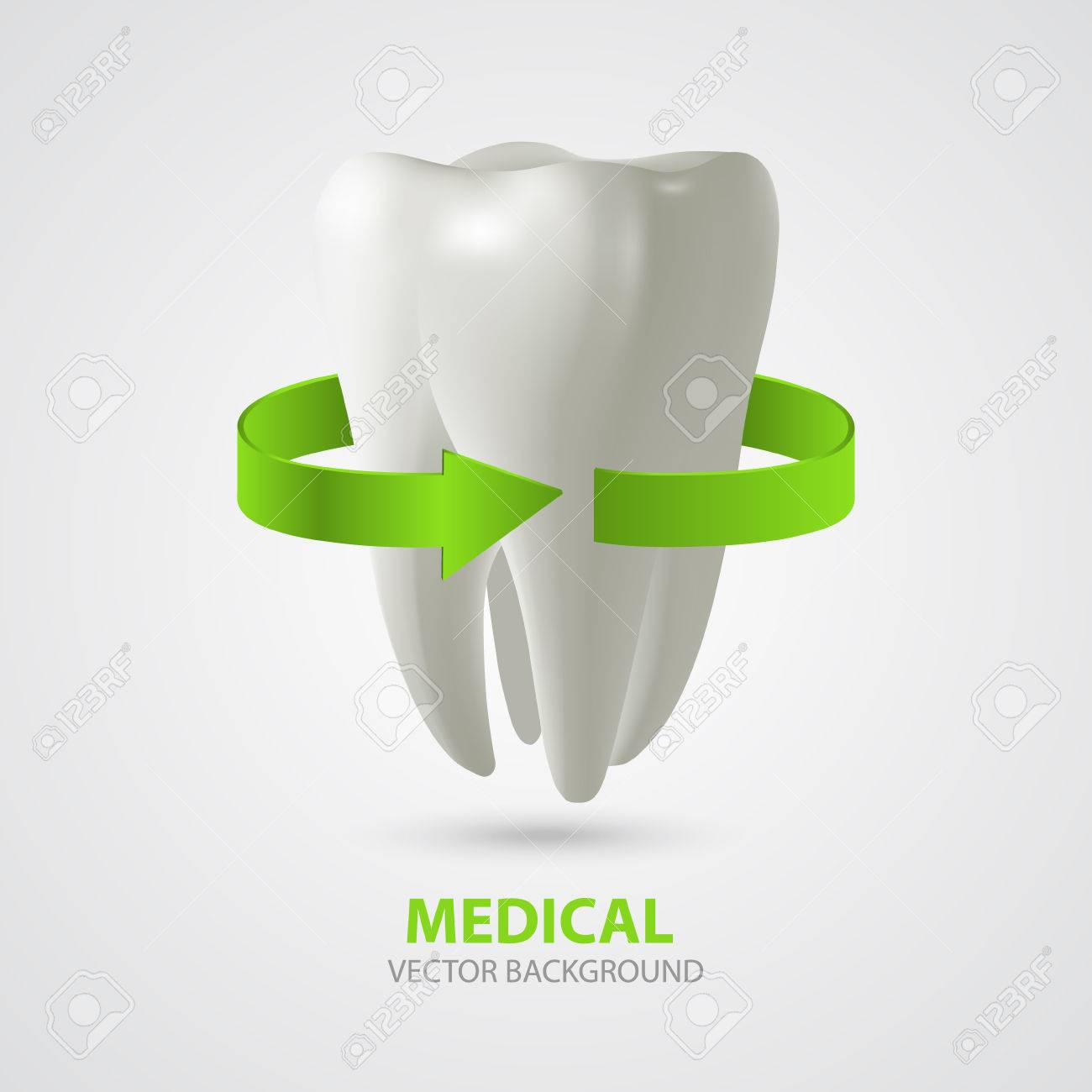 Vector three-dimensional tooth with green arrow sign. Medical background - 34480316