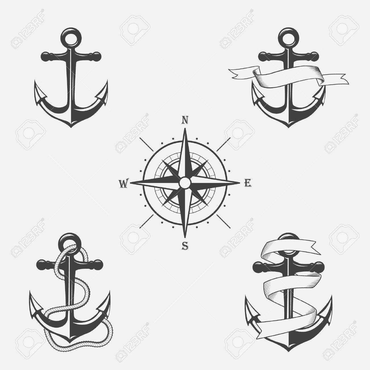 Set of vector vintage patterns on nautical theme. Icons and design elements. - 34641214