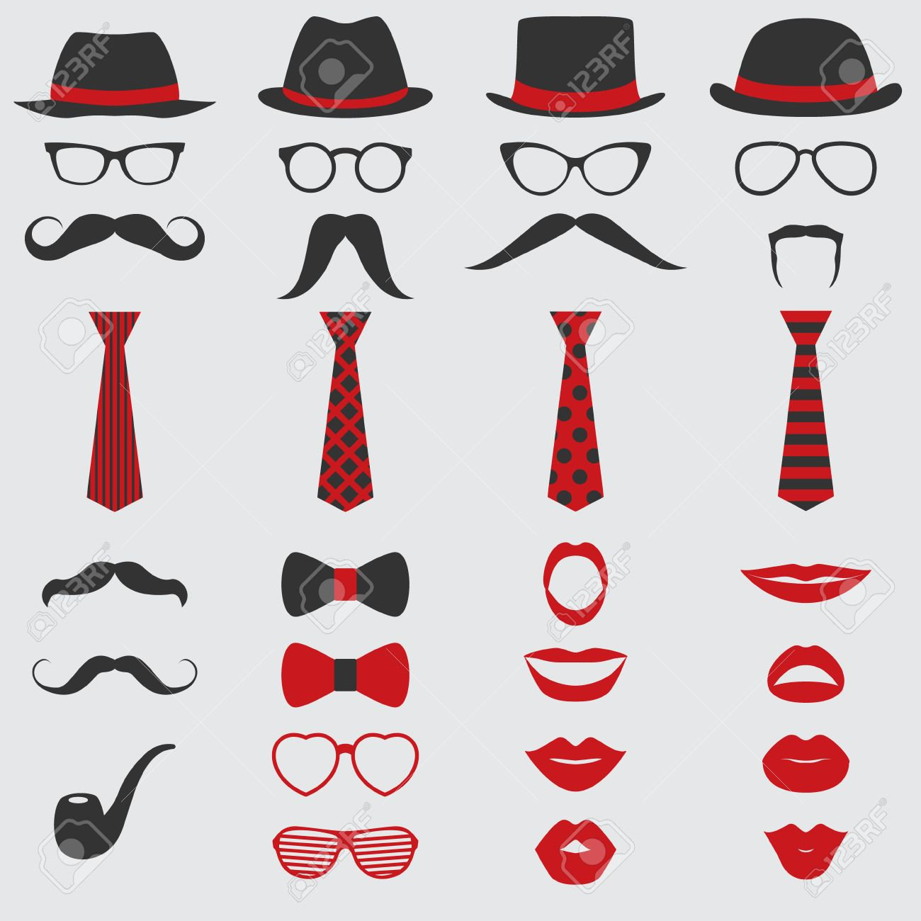 Retro Party set - Glasses, hats, lips, mustaches, ties and pipe - for design, photo booth, scrapbook in vector - 34868591