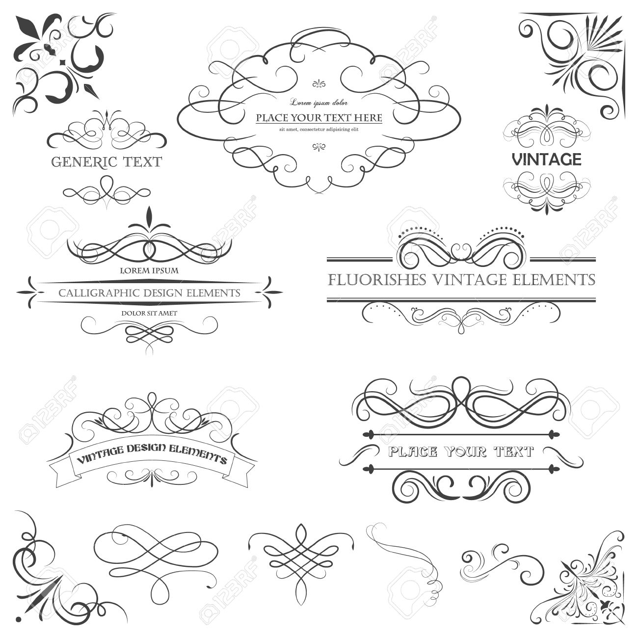 Vector vintage style elements. Vintage handwritten flourishes, patterns and ornaments. - 34875602