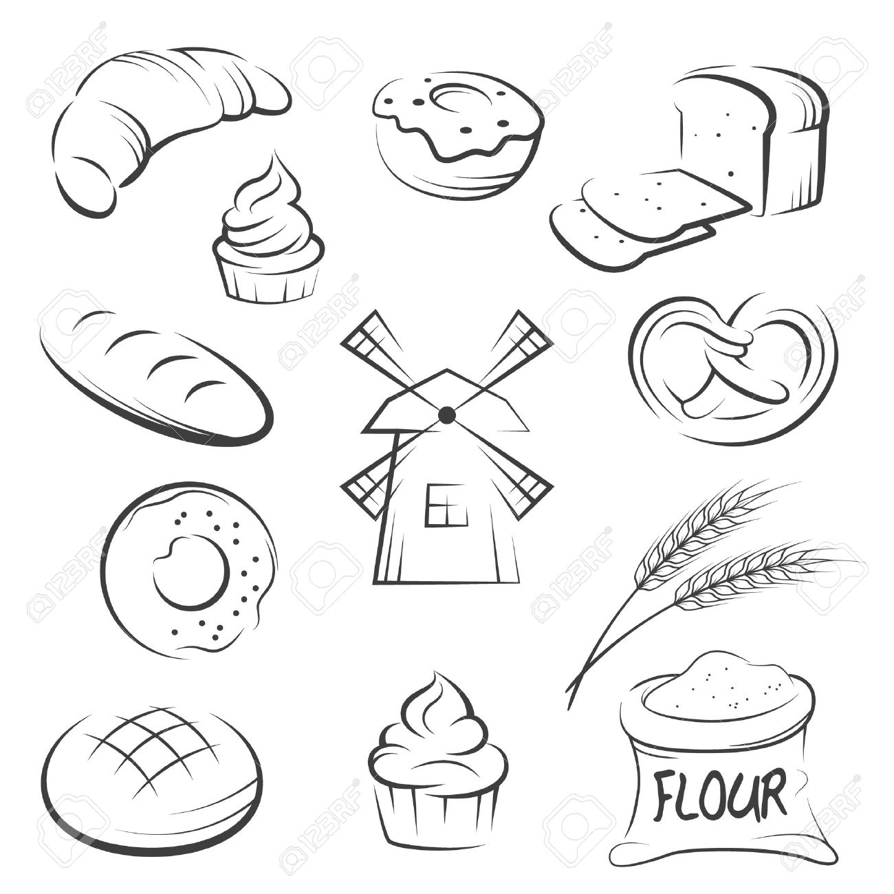 Set of hand drawing bakery icons. Vector illustration. - 35310211