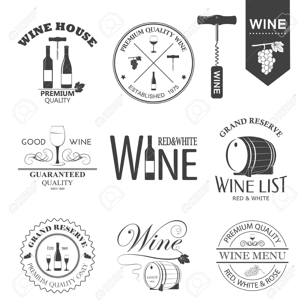 Vector set of wine black and white labels isolated on white. - 36225439