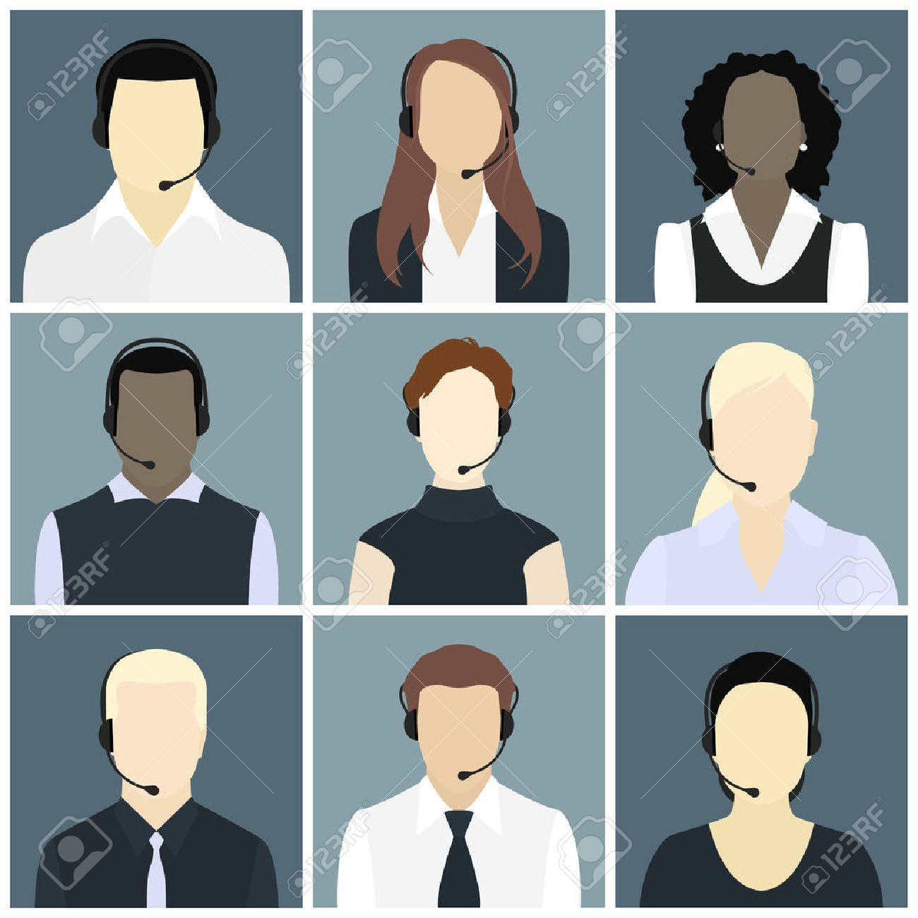 Vector icons set Male and female call center avatars in a flat style with a headset, conceptual of communication, client services, telemarketing, business - 36276697