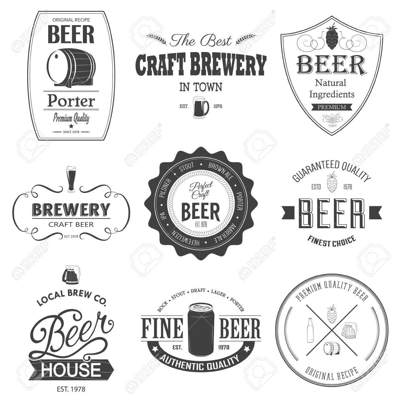 Retro set styled label of beer. Monochrome beer badges. - 36631388