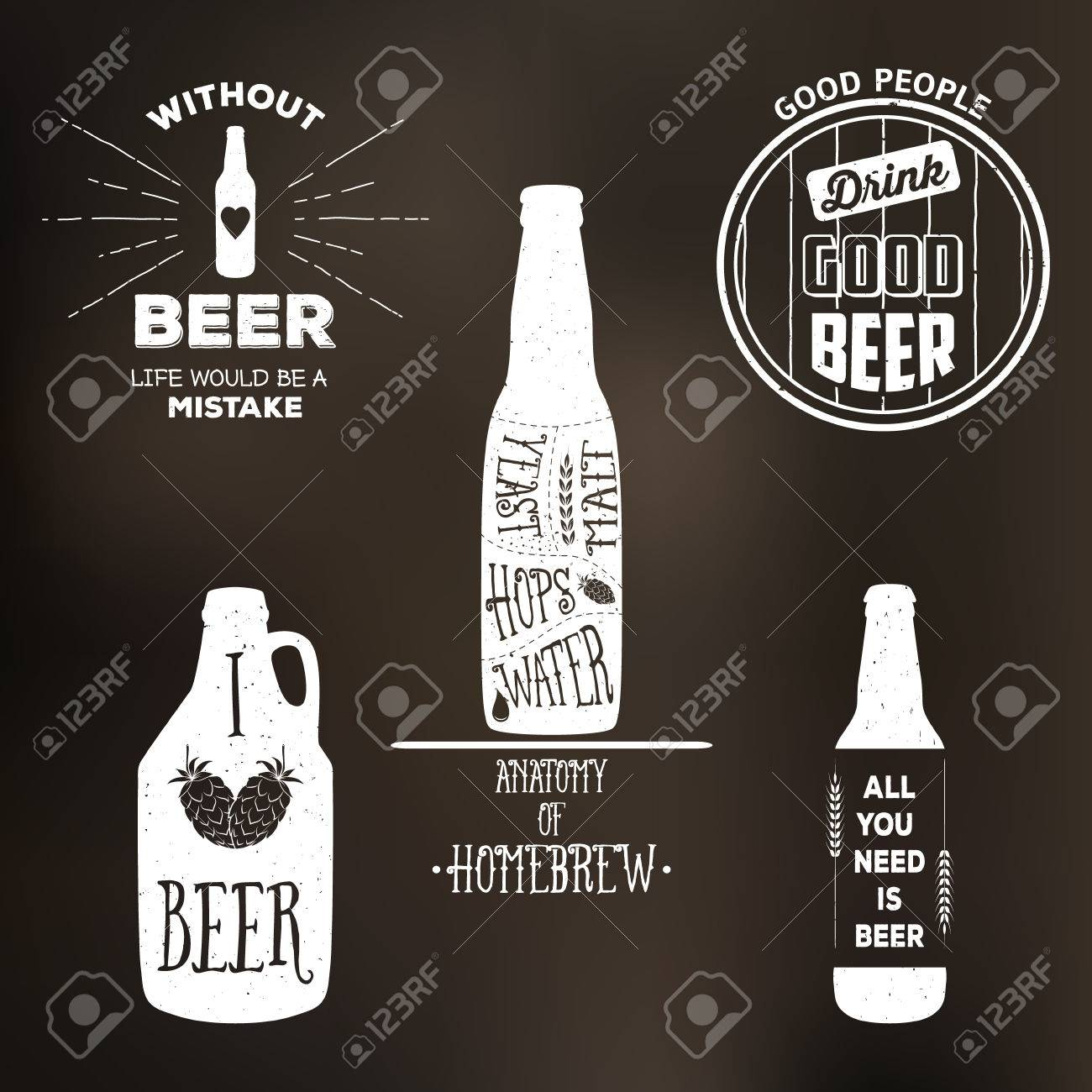 Design t shirt label - Vintage Beer Label T Shirt Graphic Set Vector Emblems Labels And Design Elements