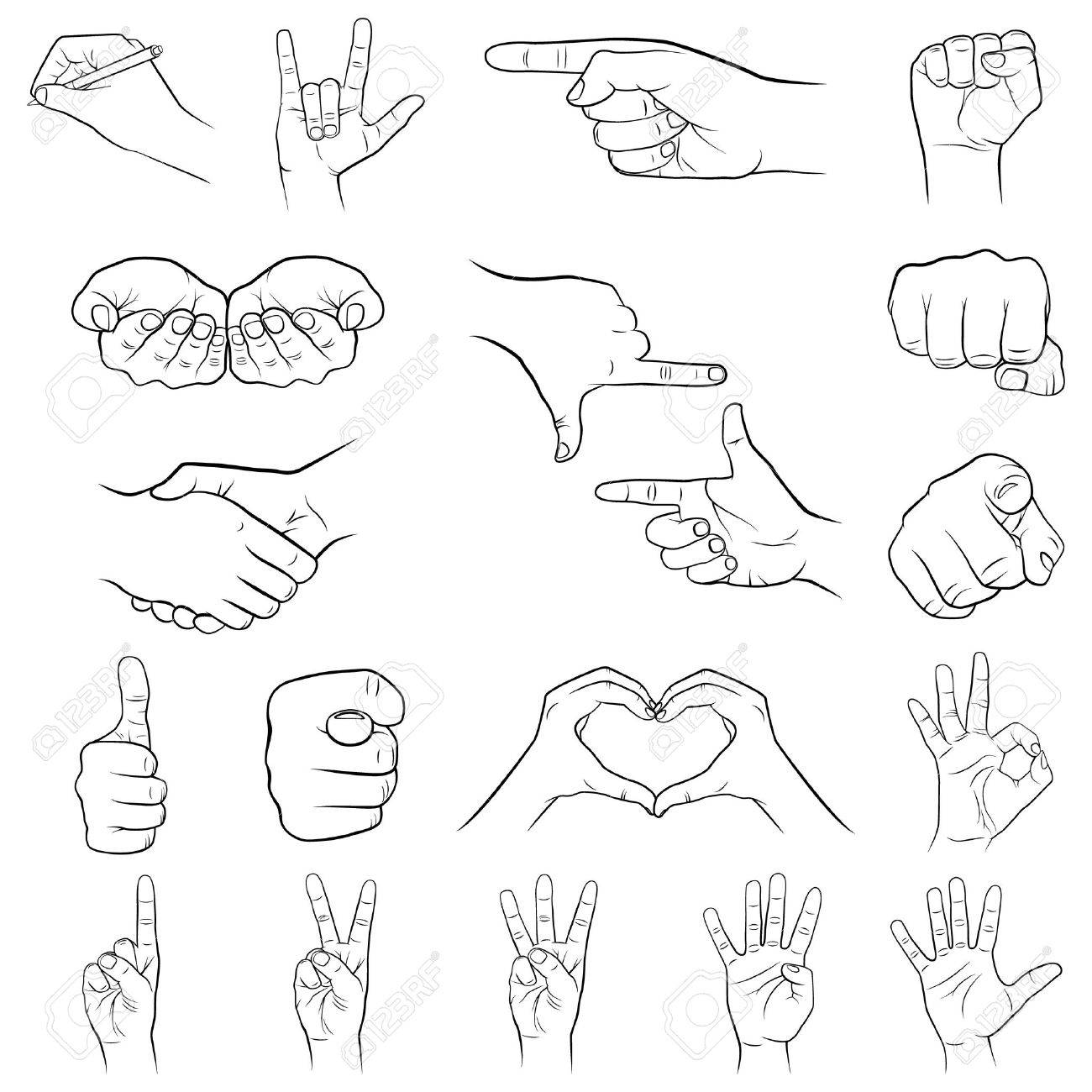 Set of hand gestures on a white background. Vector illustration. - 36933272