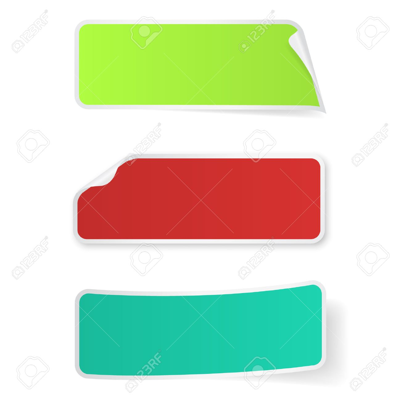 Bright multi-colored stickers label isolated on white background - 37153057