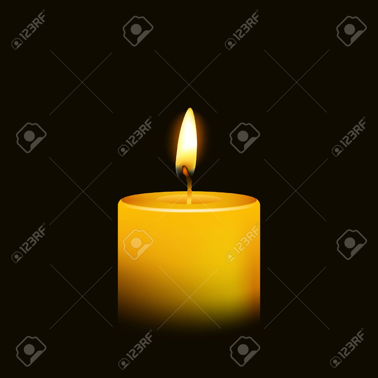 One candle flame at night closeup - isolated. Vector illustration. - 37234889