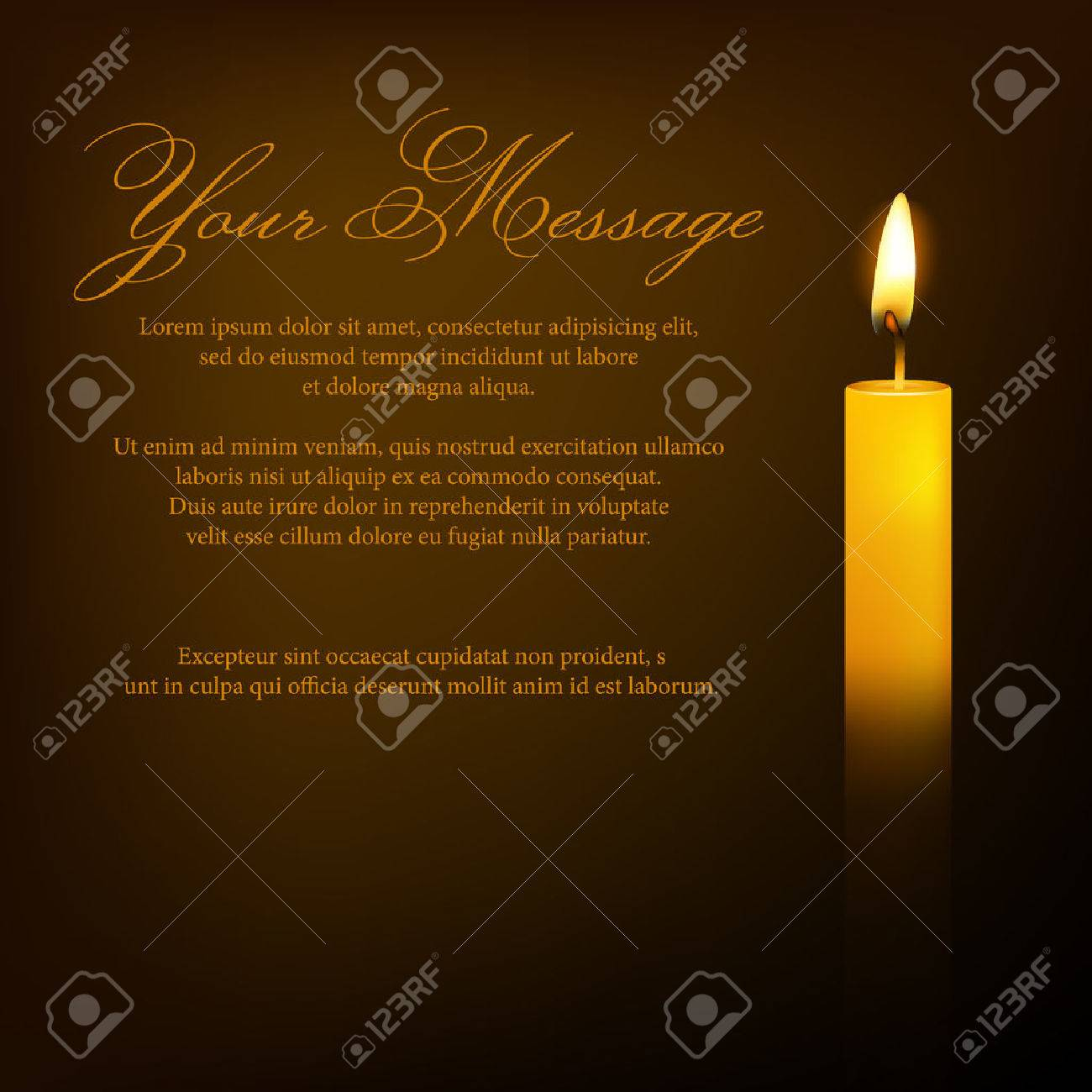 Vector funeral card with candle and place for text. EPS10 illustration. - 37237258