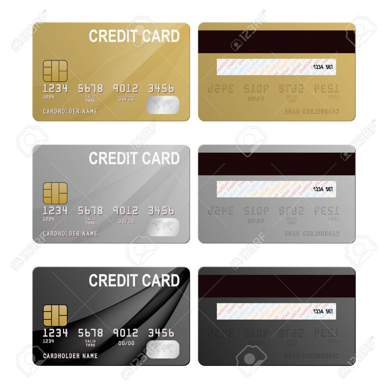Realistic credit cards set - gold, silver and black. Vector EPS10 illustration. - 37406214