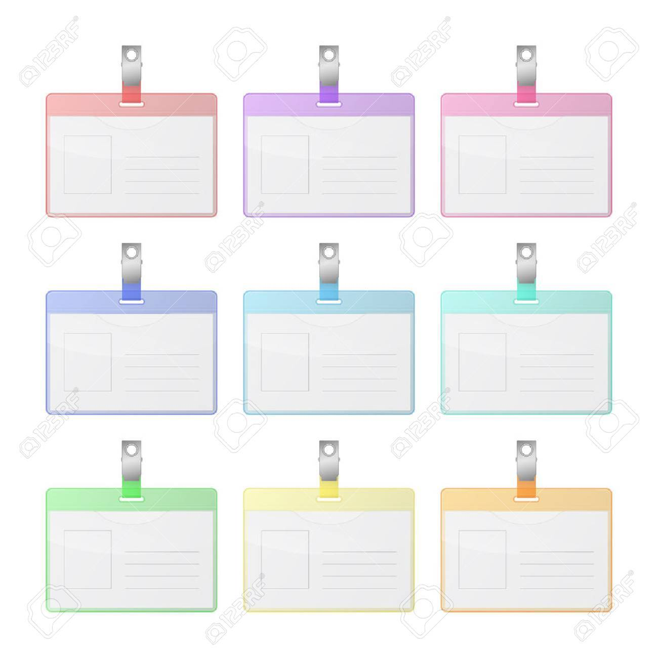 Set of colorful transparent identification cards with place for photo and text. Isolated on white background. Vector EPS10 illustration. - 37543050