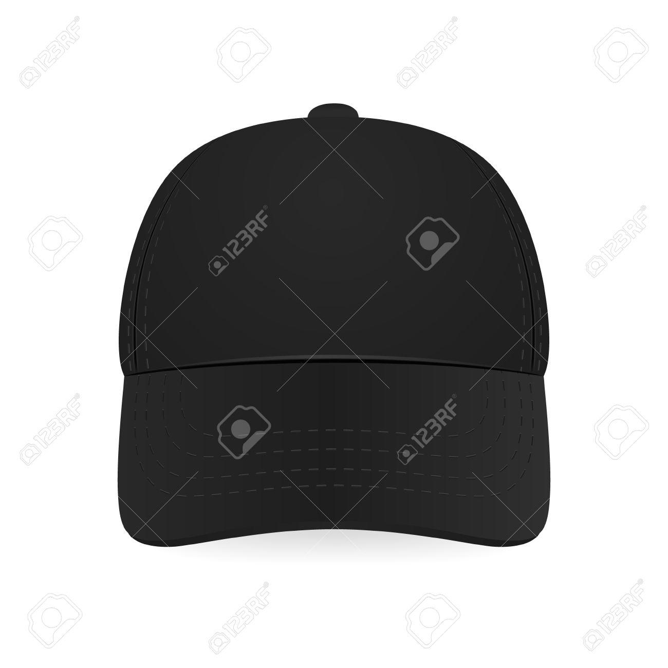 Black baseball cap on white background. Design template. - 37680683