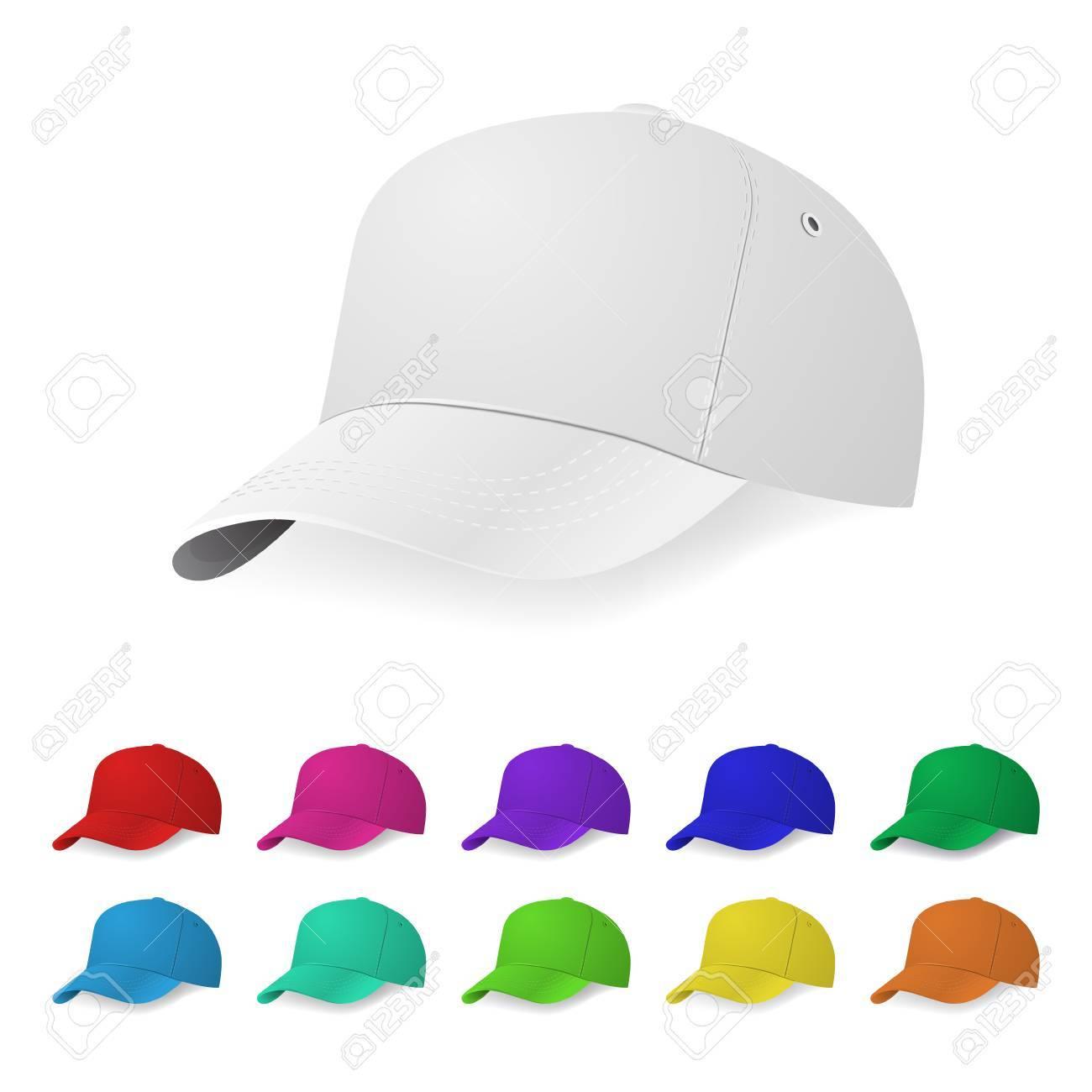 Set Of Realistic Baseball Cap Templates. Royalty Free Cliparts ...
