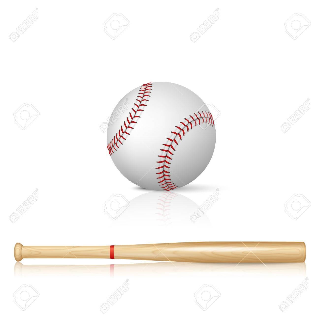 Realistic baseball bat and baseball with reflection on white background - 37943810