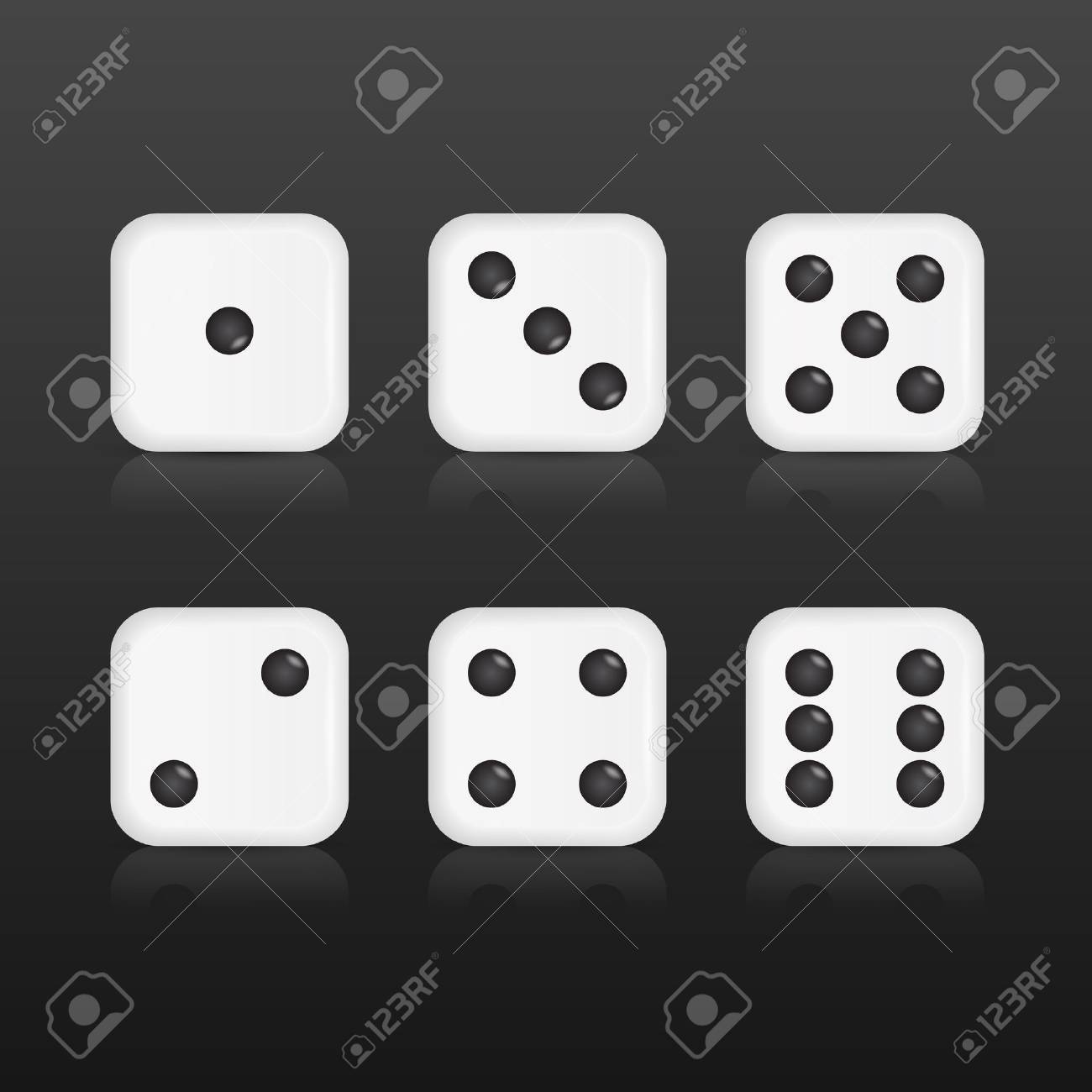 Six realistic dices with with reflections on black background. Vector EPS10 illustration. - 37943820