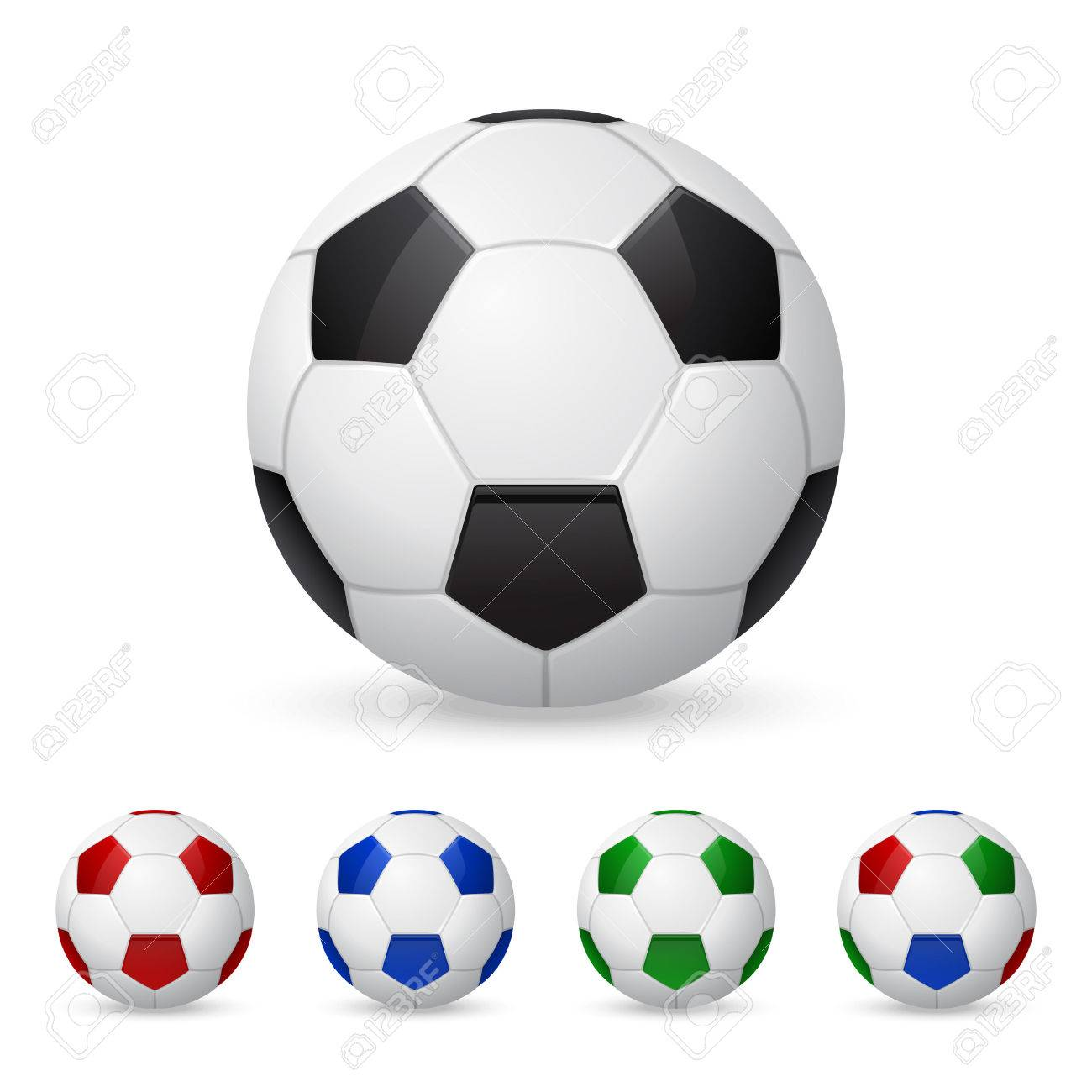Set of three-dimensional olorful soccer balls. Isolated on white. Vector illustration. - 37973970