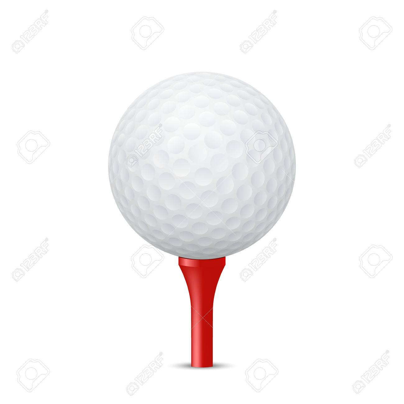 Golf ball on a red tee, isolated. Vector illustration. - 38547458
