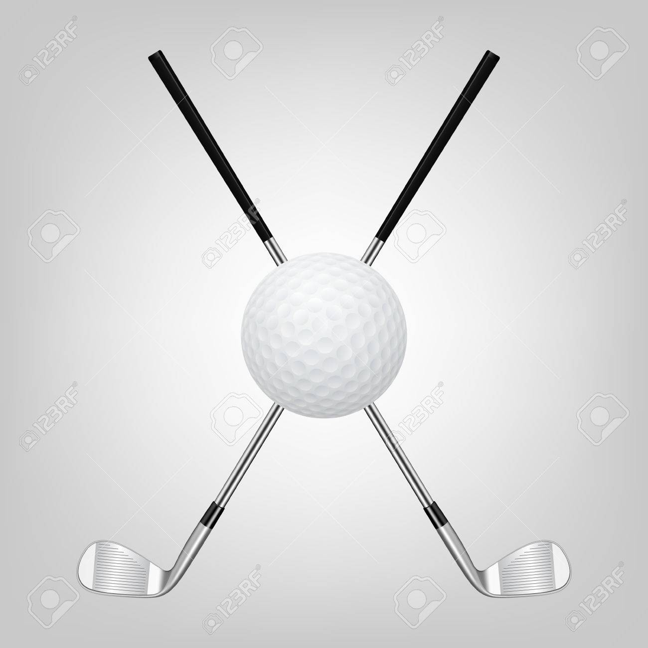 3d realistic golf ball and two crossed golf clubs. Vector illustration. - 38547461
