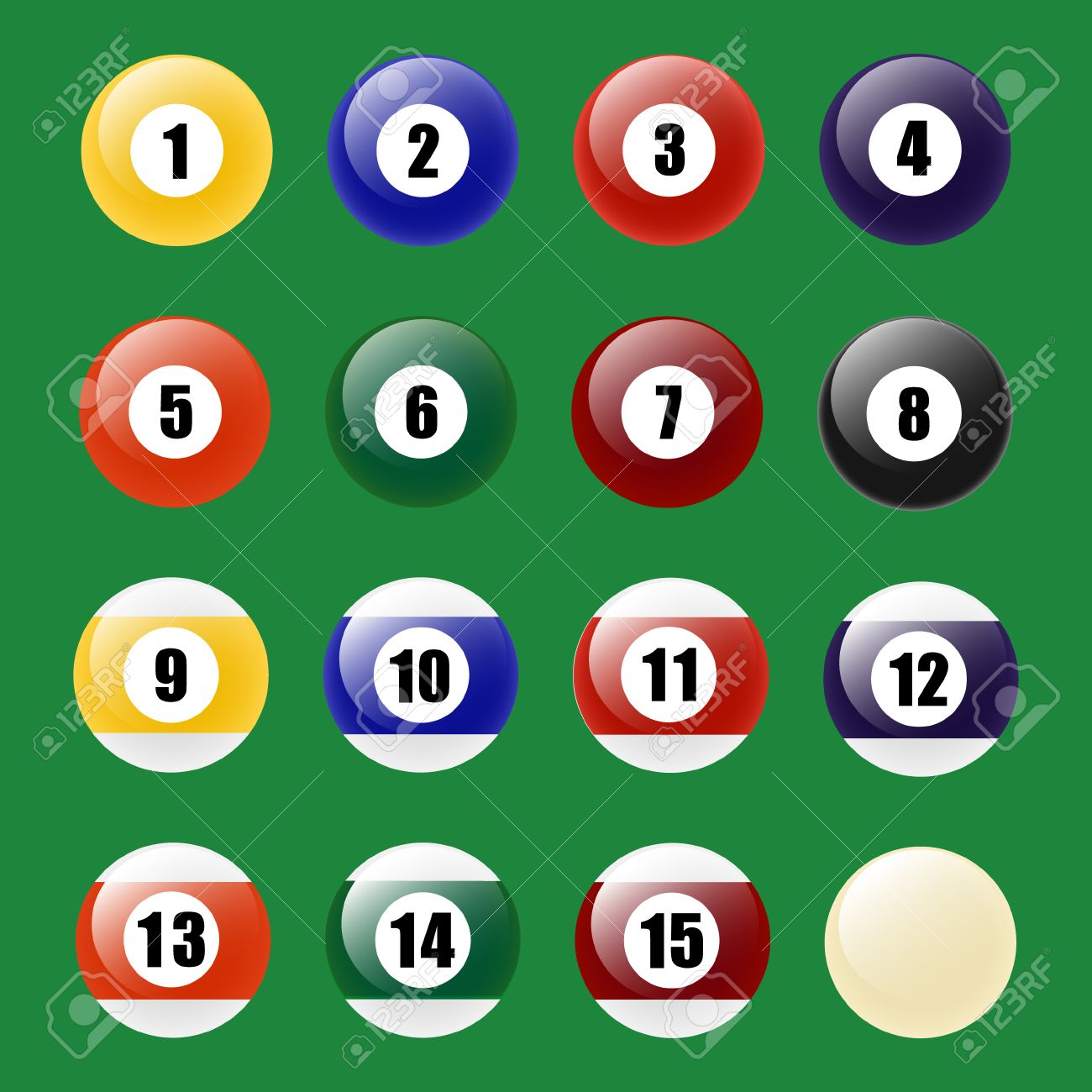 Colored Pool Balls. Numbers 1 To 15 And Zero Ball. Vector EPS10 ...