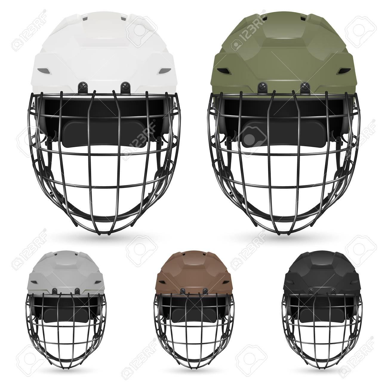 4ec0b8fa Set of goalkeeper hockey helmets, isolated. Vector illustration. Stock  Vector - 39266129