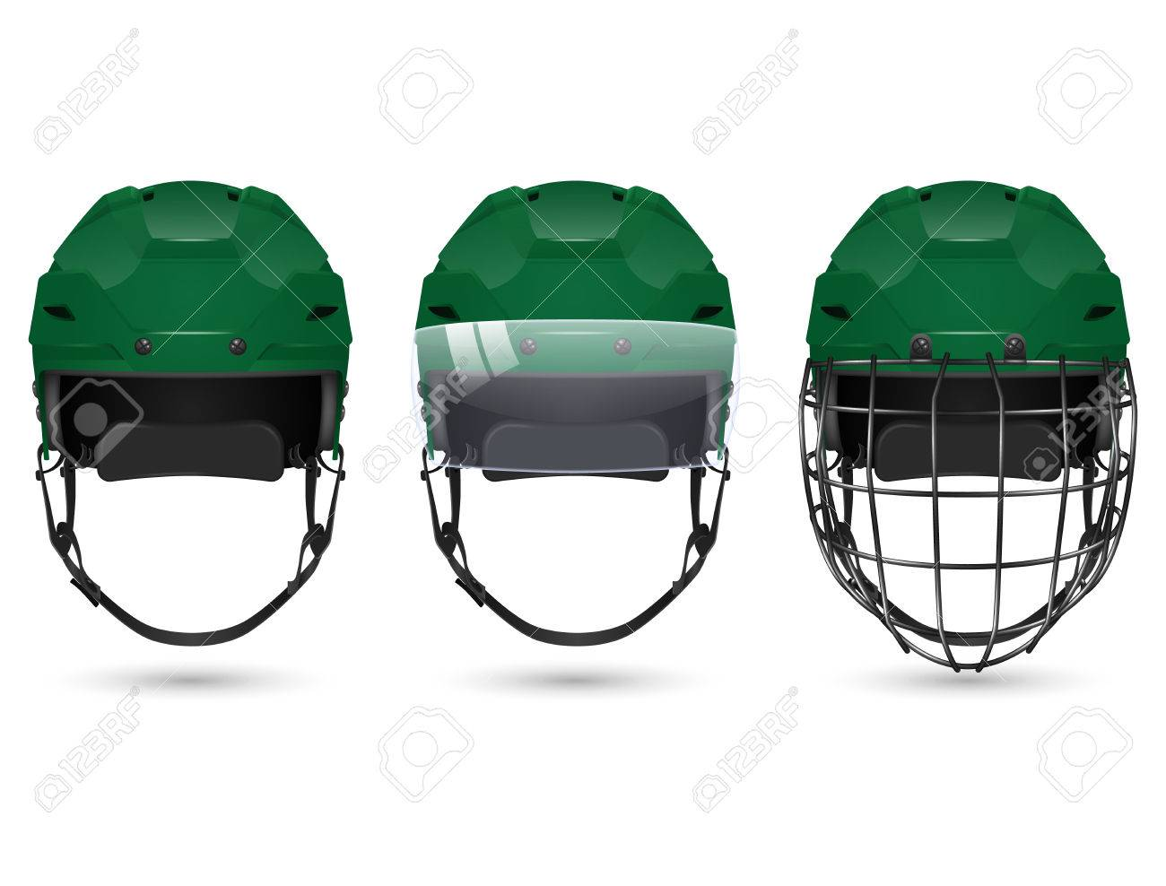 4749e4c8 3d realistic green hockey helmet in three varieties - without protection,  with visor and goalkeepers