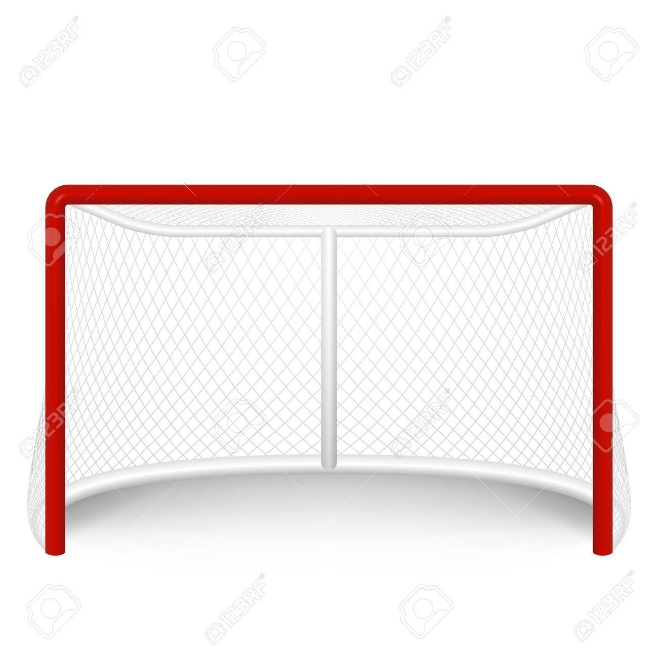 red hockey goal, net. - 39566796
